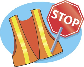 safety vest and hand-held STOP sign icon