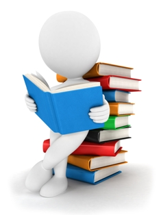 image of generic person reading while leaning against a tall stack of books