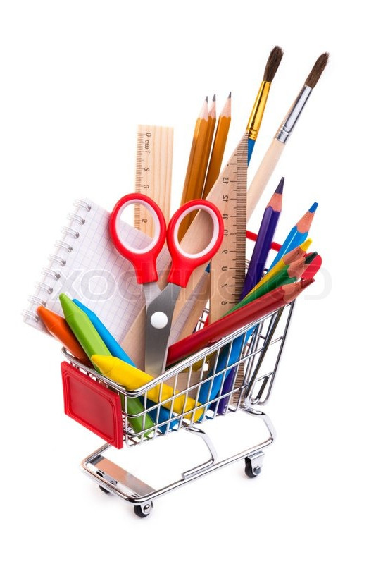 image of shopping cart full of various school supplies