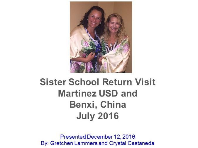 Picture of Sister School Return Visit - Martinez USD and Benxi.