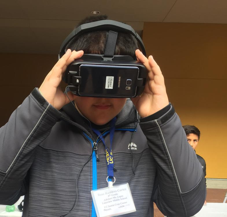 Rene experimenting with Virtual Reality