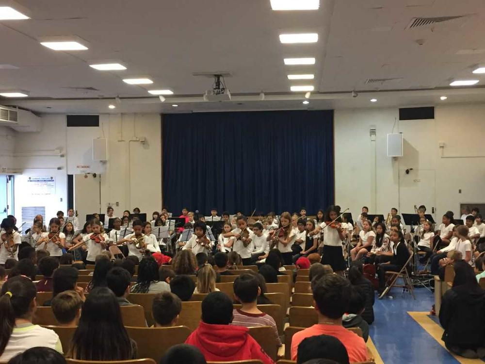 This is our orchestra playing in their end of year concert.