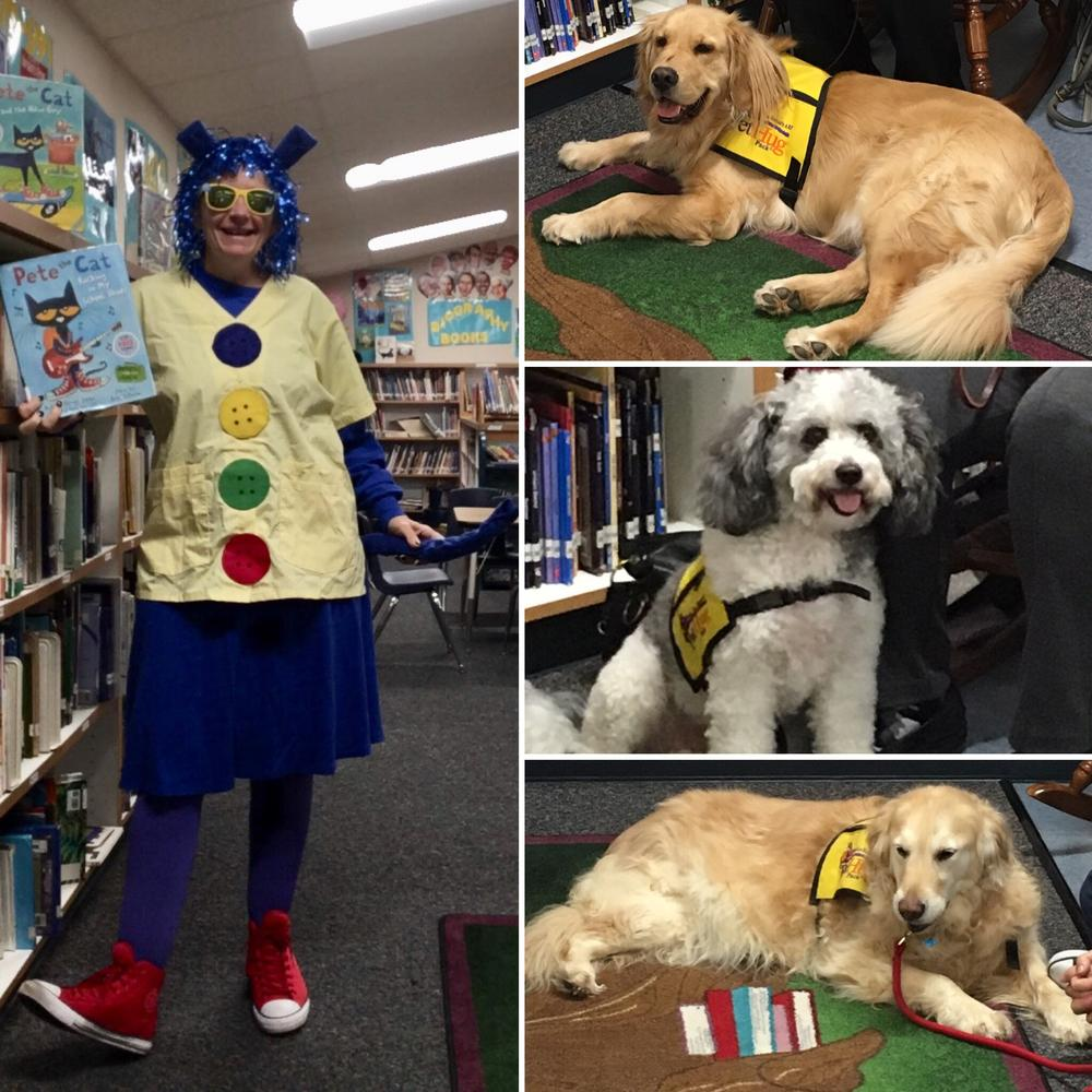 Pete the Cat with rescue dogs