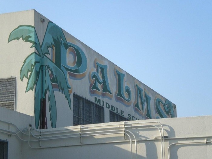 Palms mural on side of building