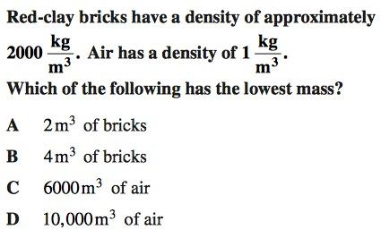 sample 8th grade science question