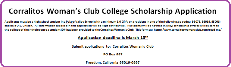 Corralitos Woman s Club College Scholarship Application