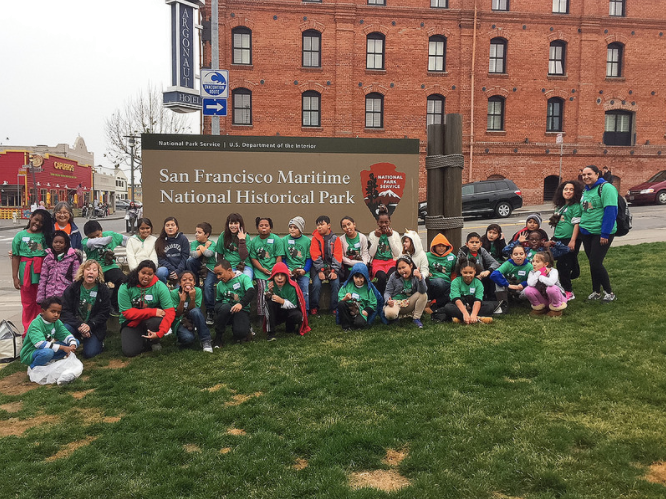 School students gathered in front of San Francisco Maritime National Historical Park