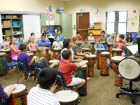 Ms. Swanson's class playing drums