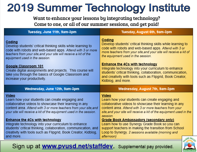 Summer Technology Institute Flyer