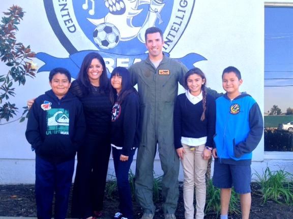 Dr. Rayburn, Major Krino with future Mechanical Engineers and Pilots.