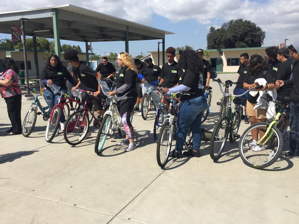 Thanks to Better Learning for All Students Today and the Waste Management  Department for all these new bikes.