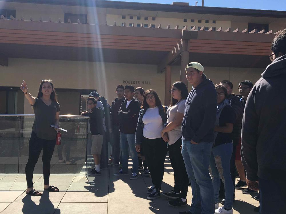 Wendy, former ELARA student giving a tour of her college, Claremont McKenna  during a Telacu Talent Search Field Trip