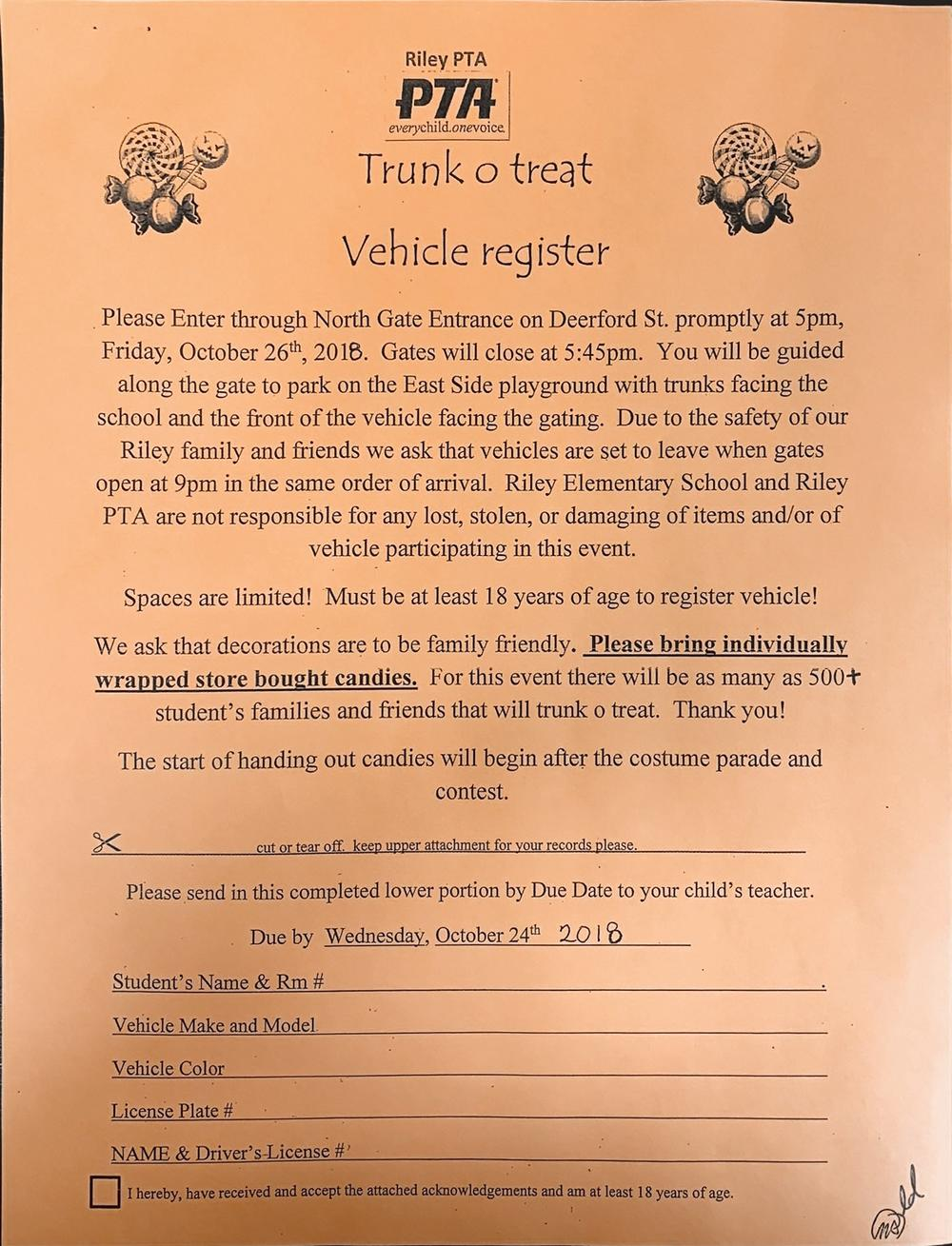trunk o treat vehicle register