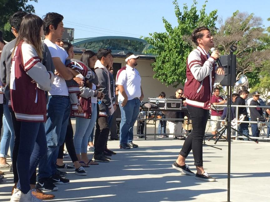 ASB President addressing the students