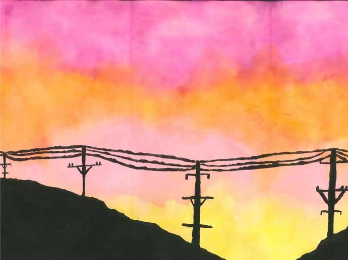 Silhouette Telephone Wires