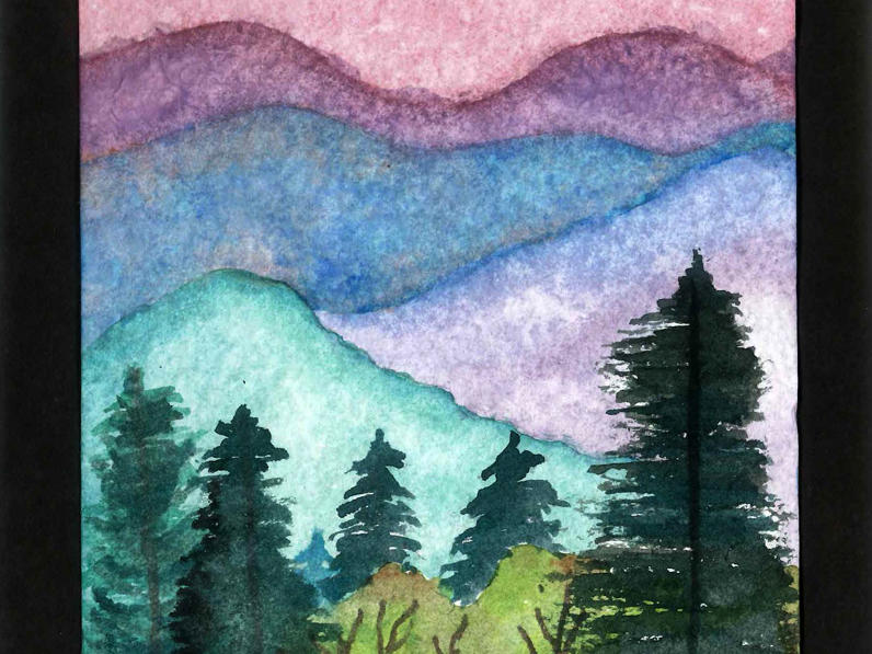Watercolor Forested Mountains