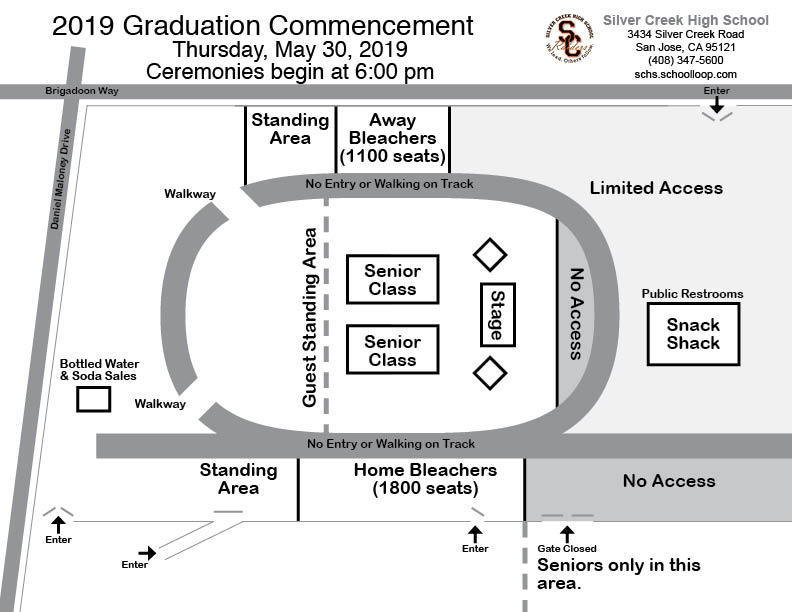Map of Graduation Setup  Silver Creek High School Stadium