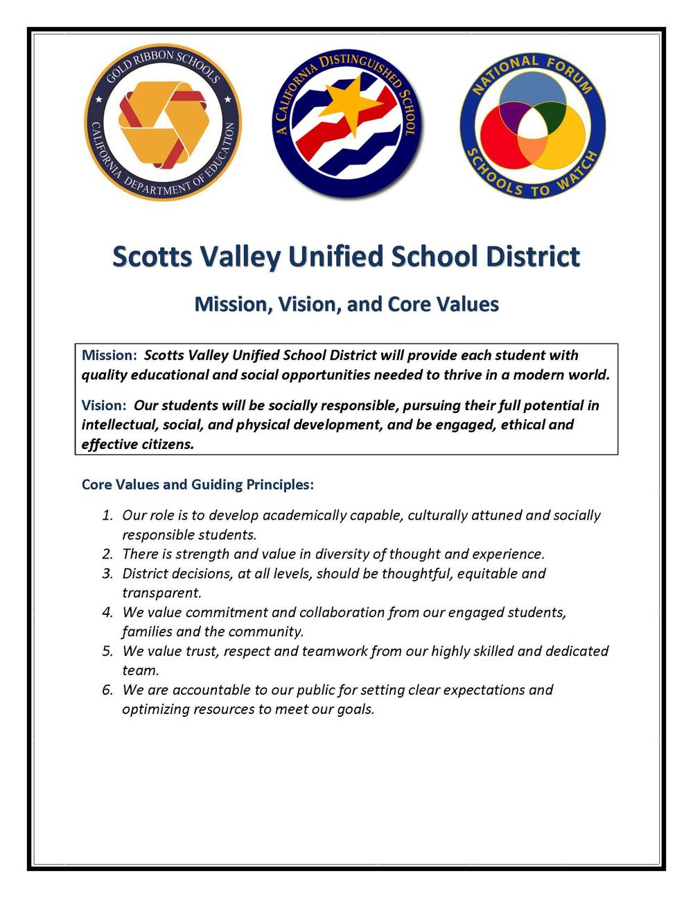 SVUSD Mission, Vision, Core Values