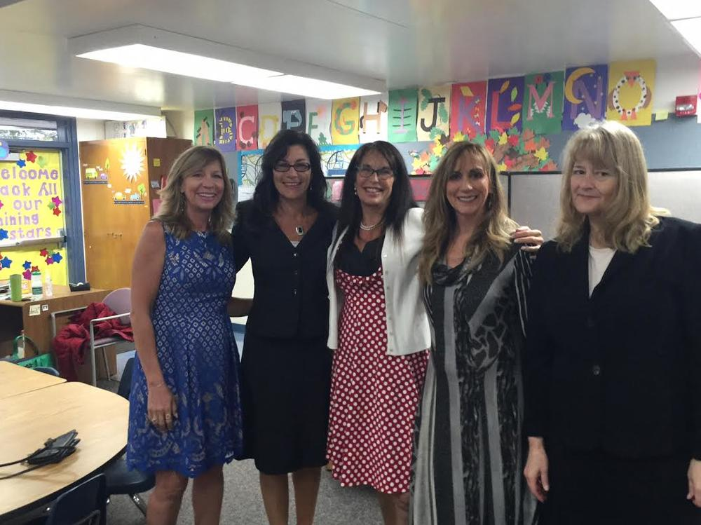 District office team visiting Brook Knoll on the first day of school