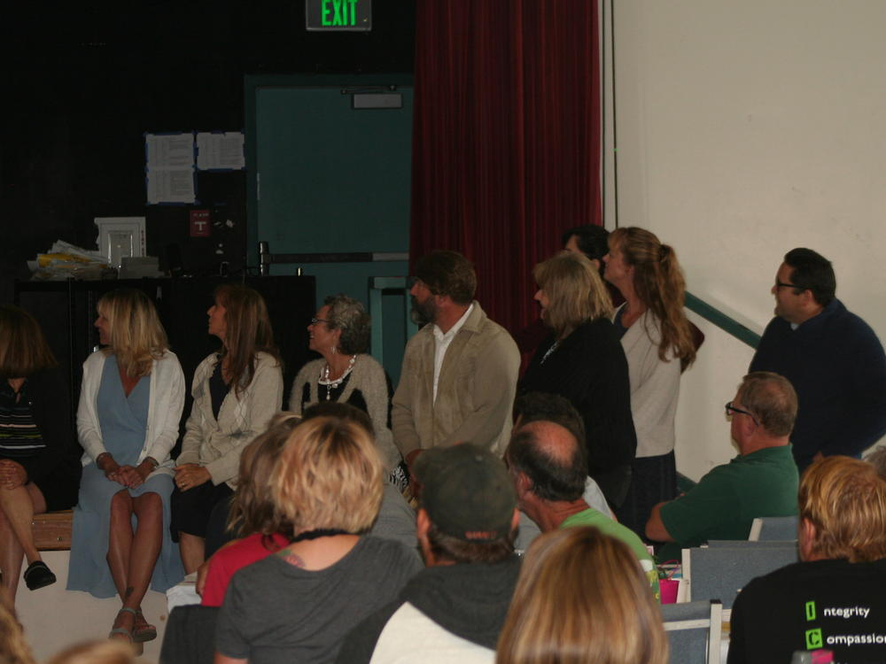 The SVUSD Leadership Team watches the Mr. Rogers video