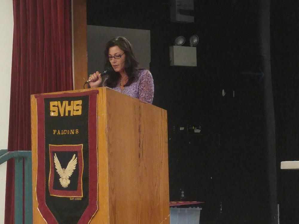 Superintendent Tanya Krause addresses attendees at the Welcome Back Breakfast