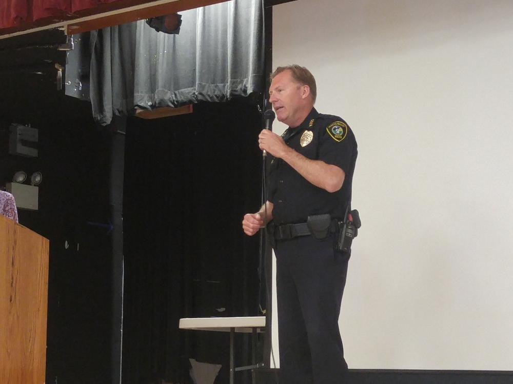 SV Police Chief John Weiss addresses Welcome Back Breakfast attendees