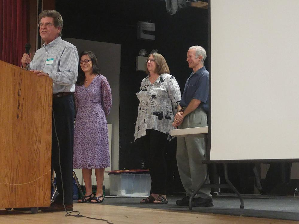 SVUSD Trustees Kim Schultz, Michael Shulman, and Sue Roth address Welcome Back  attendees