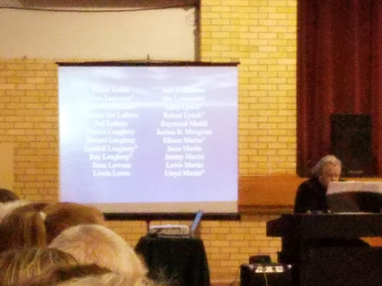 While the band played, a powerpoint of all the veterans associated with South  Haven Schools played.