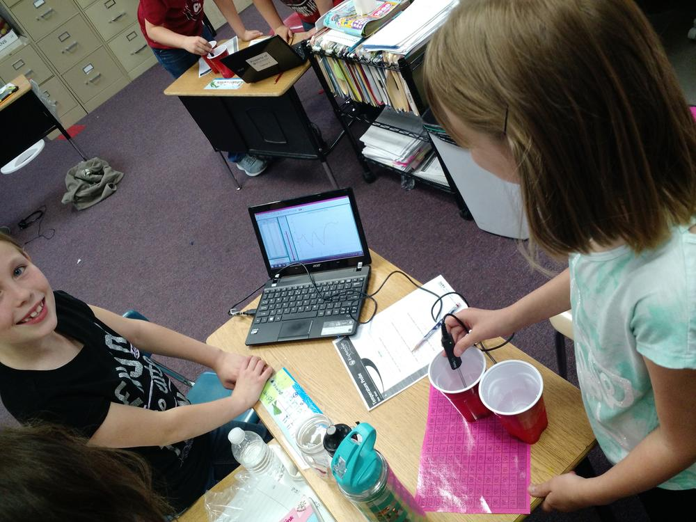 3rd graders are learning how to use a temperature probe to measure and graph  the temperature of different liquids.