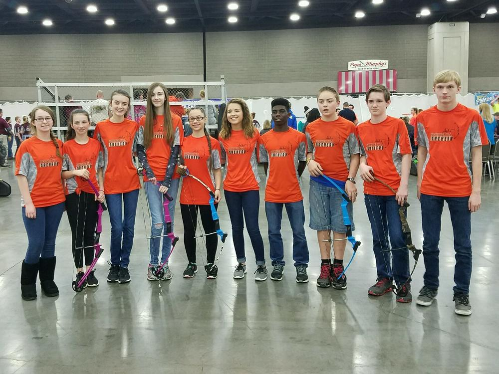 picture of 8th grade archery team members