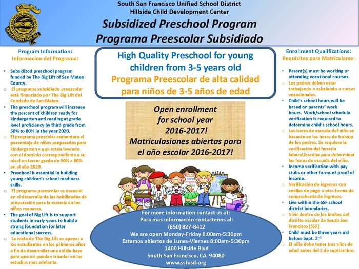 Hillside Preschool Program flyer