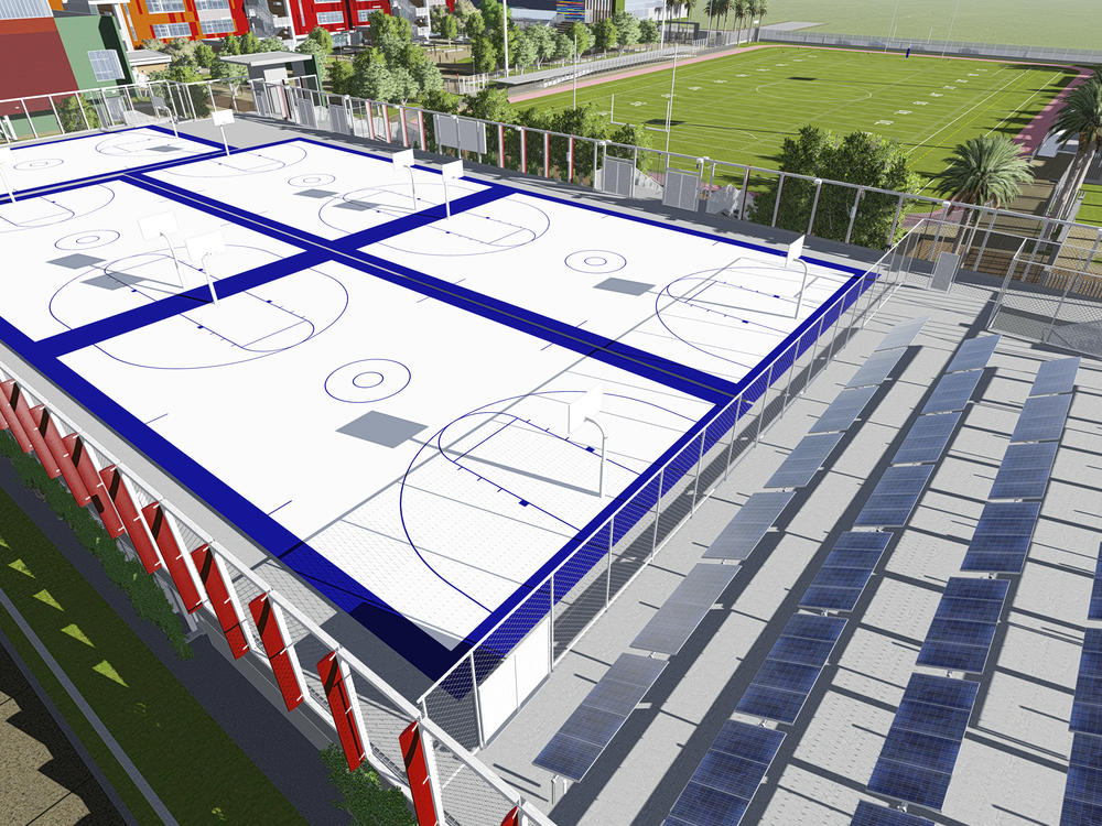 Underground Parking Structure- Basketball Courts - Solar Panels  57th St and  Mayflower Ave