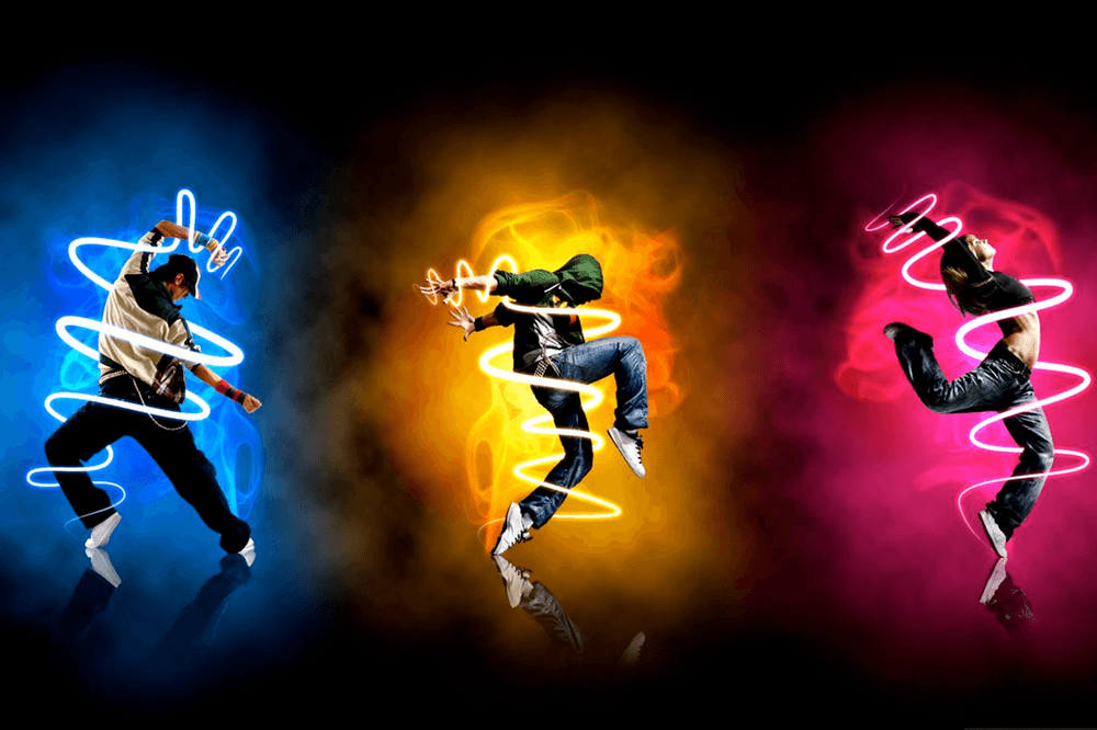 Colorful illuminated dancers