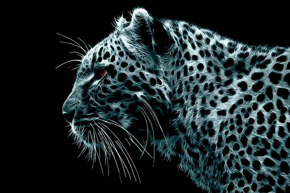 Black and white digital art picture of a cheetah