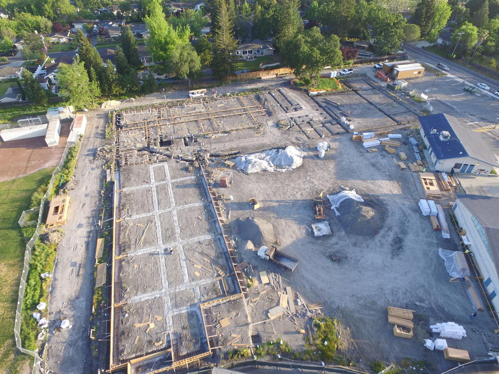 Stone Valley Middle School Modernization project in construction - May 2017, a  Measure D project.