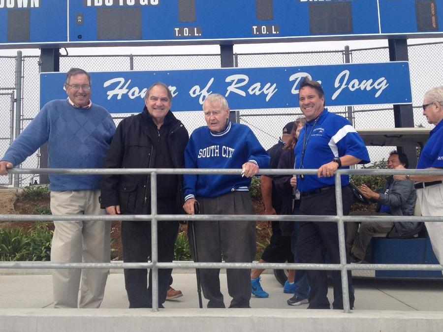 Former teachers and coaches Gene Mullin and Jim Orlich attend honor for Ray De  Jong Scoreboard rededication. Frank Moro right current Athletic Director and  alumni.