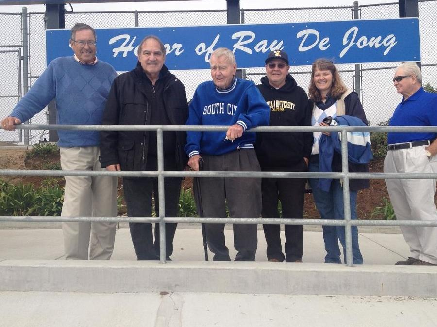 Mr. Mullin, Mr. Orlich, Mr. De Jong, his son Ray, daughter June, and Joe  Butcher, SSFHS class of 1957. Mr. Butcher was the best player Ray ever coached,  according to legend.