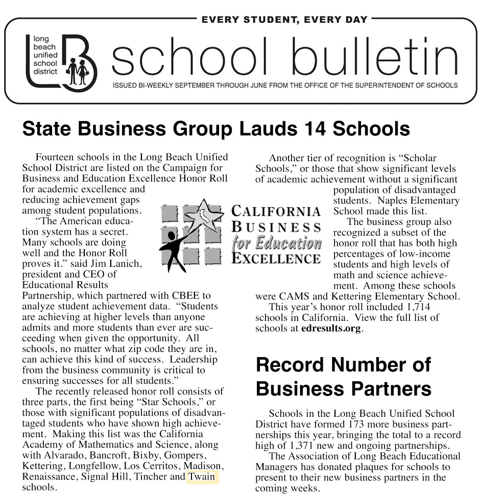 Campaign for Business and Education Excellence Honor Roll