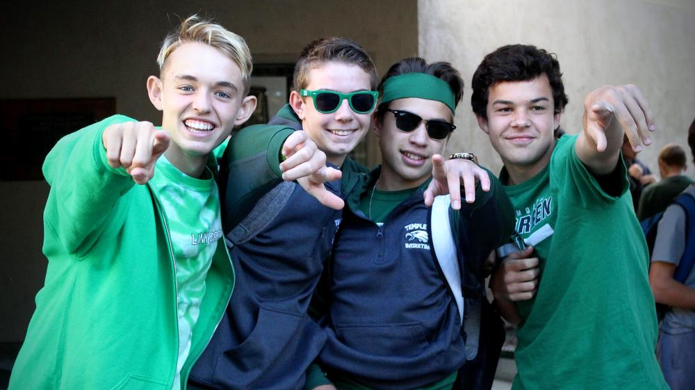 Students showing their true colors - Green!