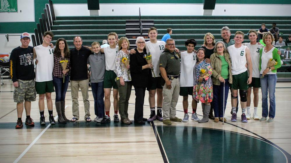 Boys Volleyball Seniors and Their Parents