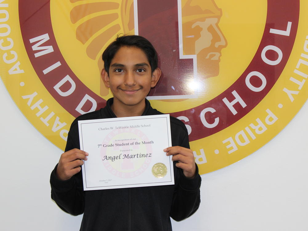 Image of 7th grade student of the month Angel Martinez