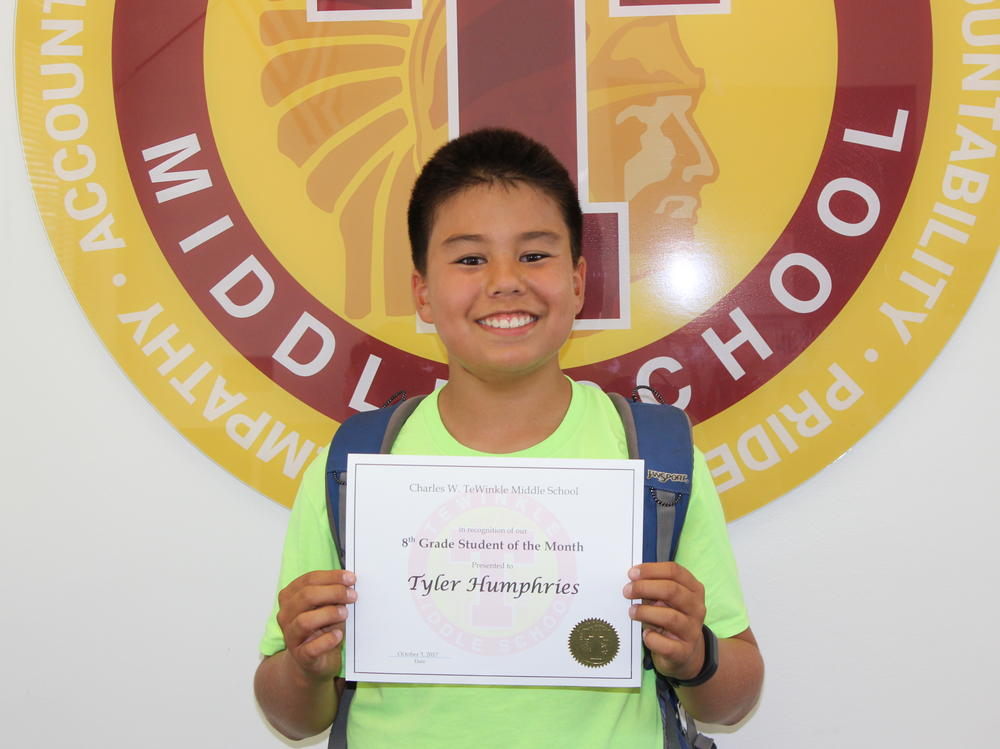 Image of 8th grade student of the month Tyler Humphries