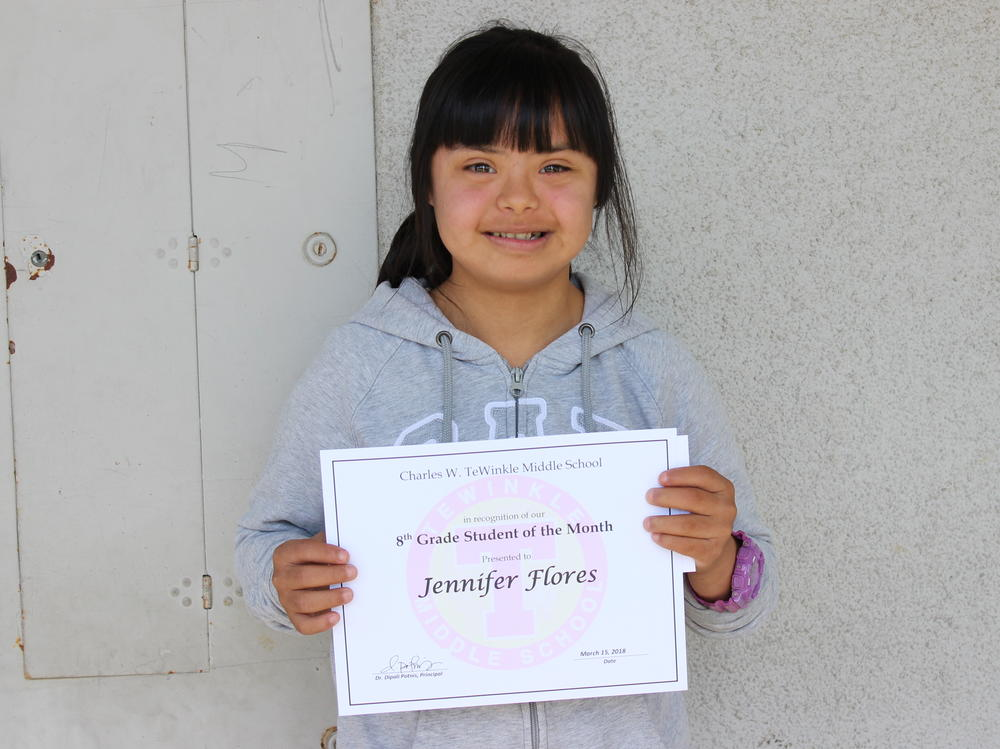 Picture of 8th grade student of the month - Jennifer Flores