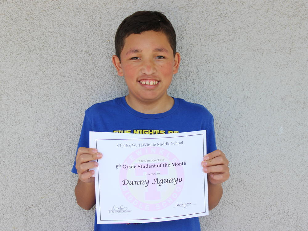 Picture of 8th grade student of the month - Danny Aguayo