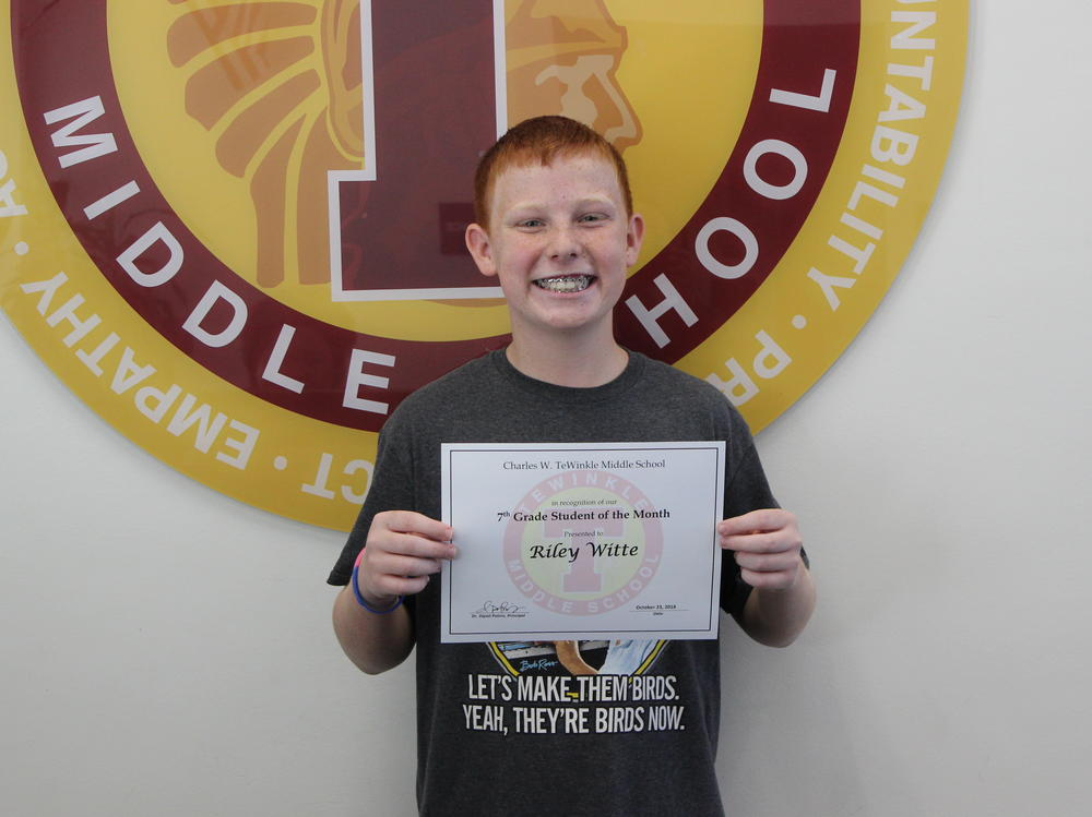 image of 7th grade Student of the Month - Riley Witte