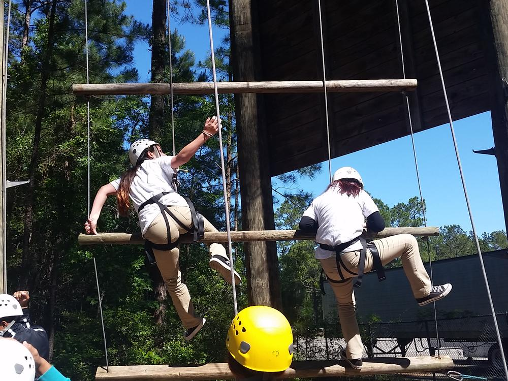 TLC students at Georgia Southern Ropes Course