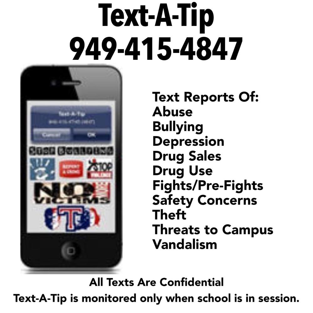 Text-A-Tip hotline flyer