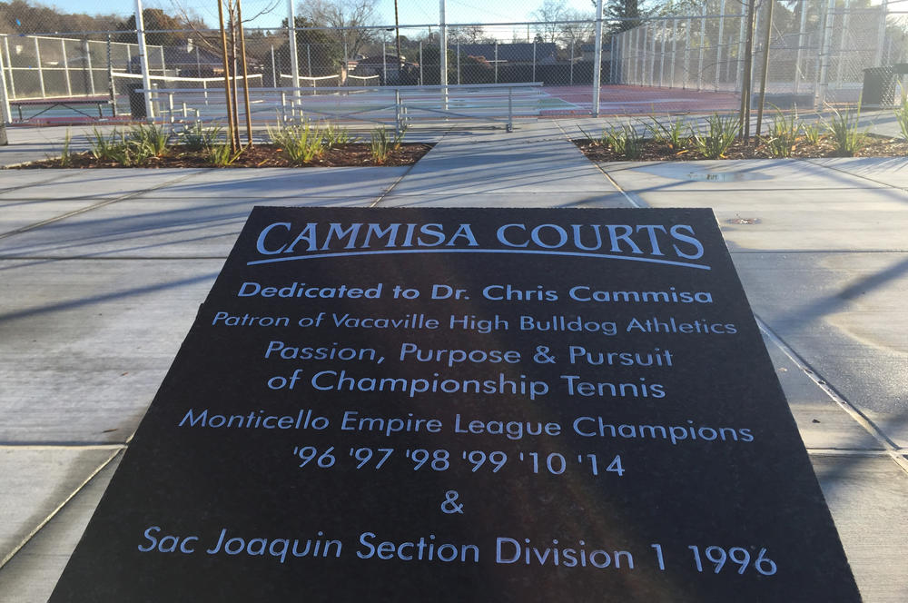 Dedication plaque to Carissa tennis courts
