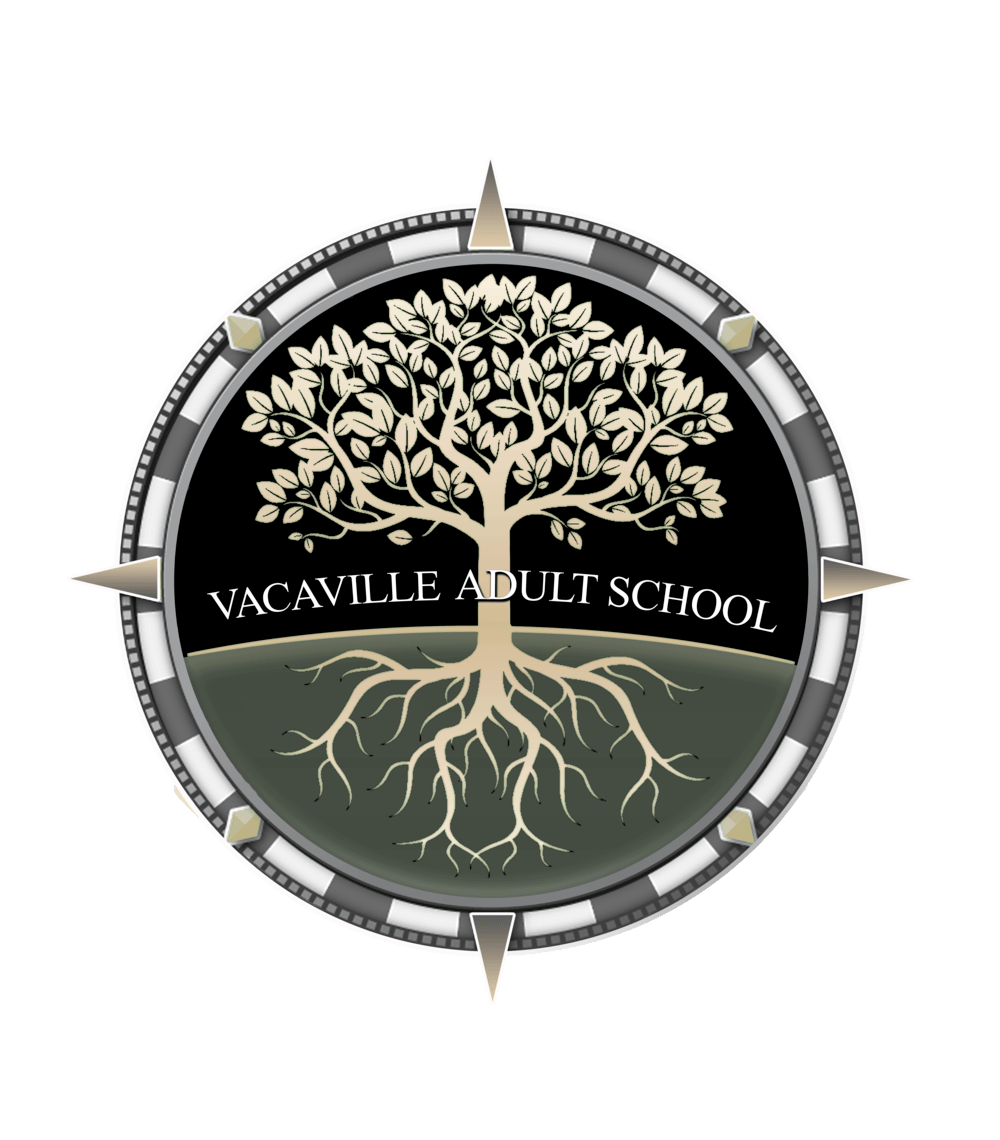 vacaville adult school logo tree in compass