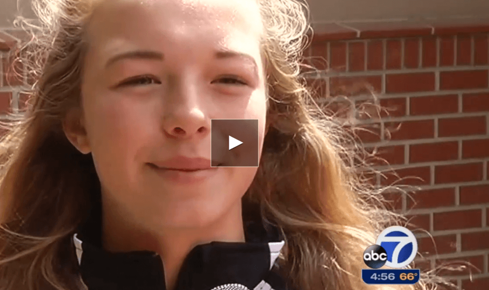 ABC 7 News story interviewing female student